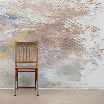 Абстрактные фотообои в бежево-коричневой гамме с хаотичными следами от гуаши  Узоры на Стене