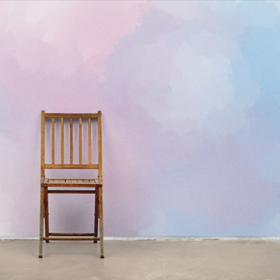 Фотообои Облака с Акварельным Градиентом Розовые и Голубые  Узоры на Стене