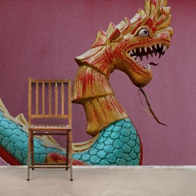 Фотообои с китайской головой дракона  Узоры на Стене