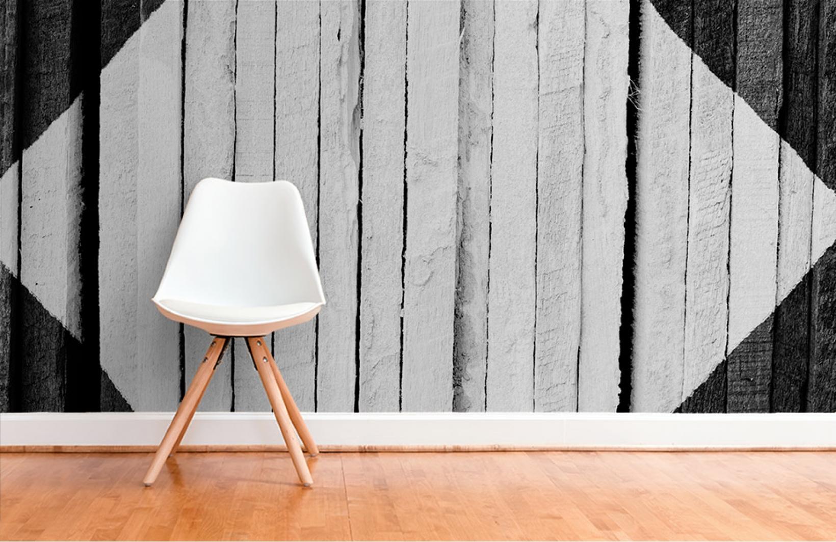 Скандинавские фотообои с белыми досками в интерьере Узоры на Стене