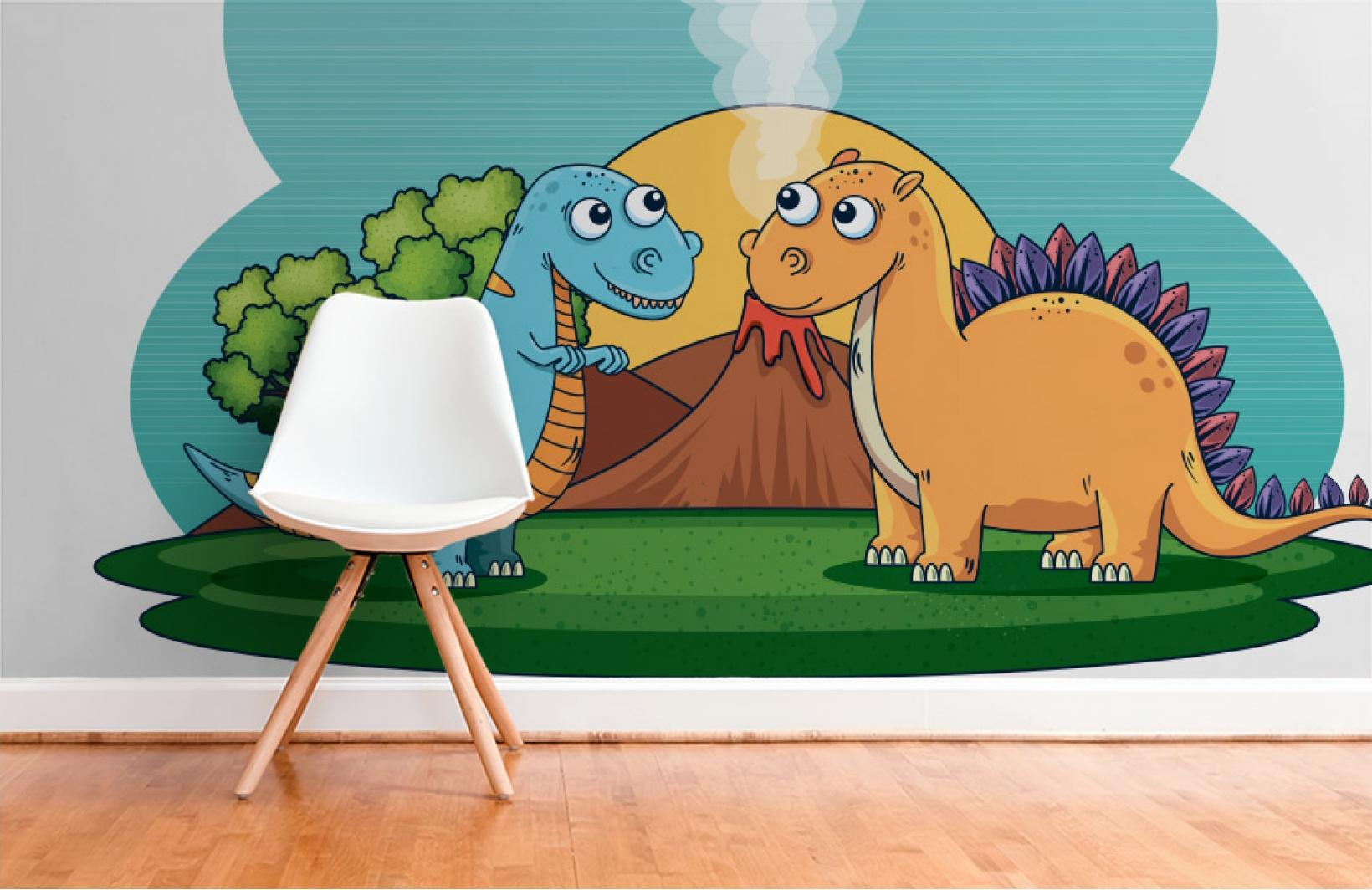 Детские фотообои с милыми анимированными динозаврами Узоры на Стене