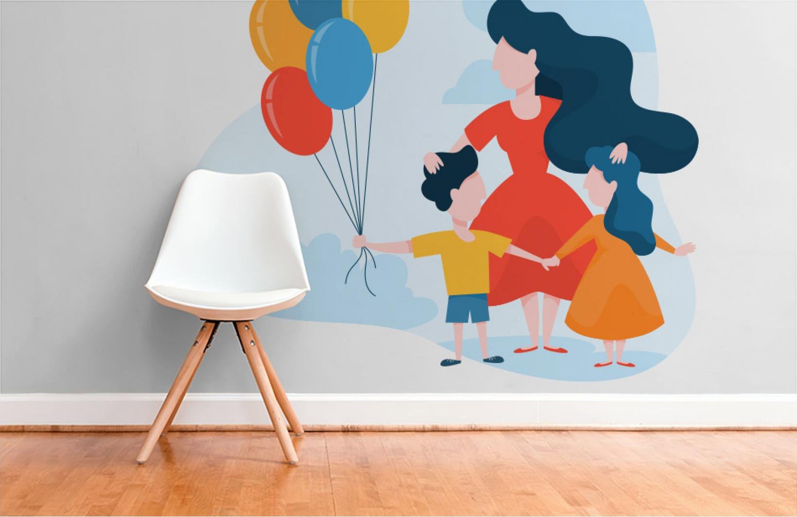 Детские фотообои с воздушными шарами в руках ребенка Узоры на Стене