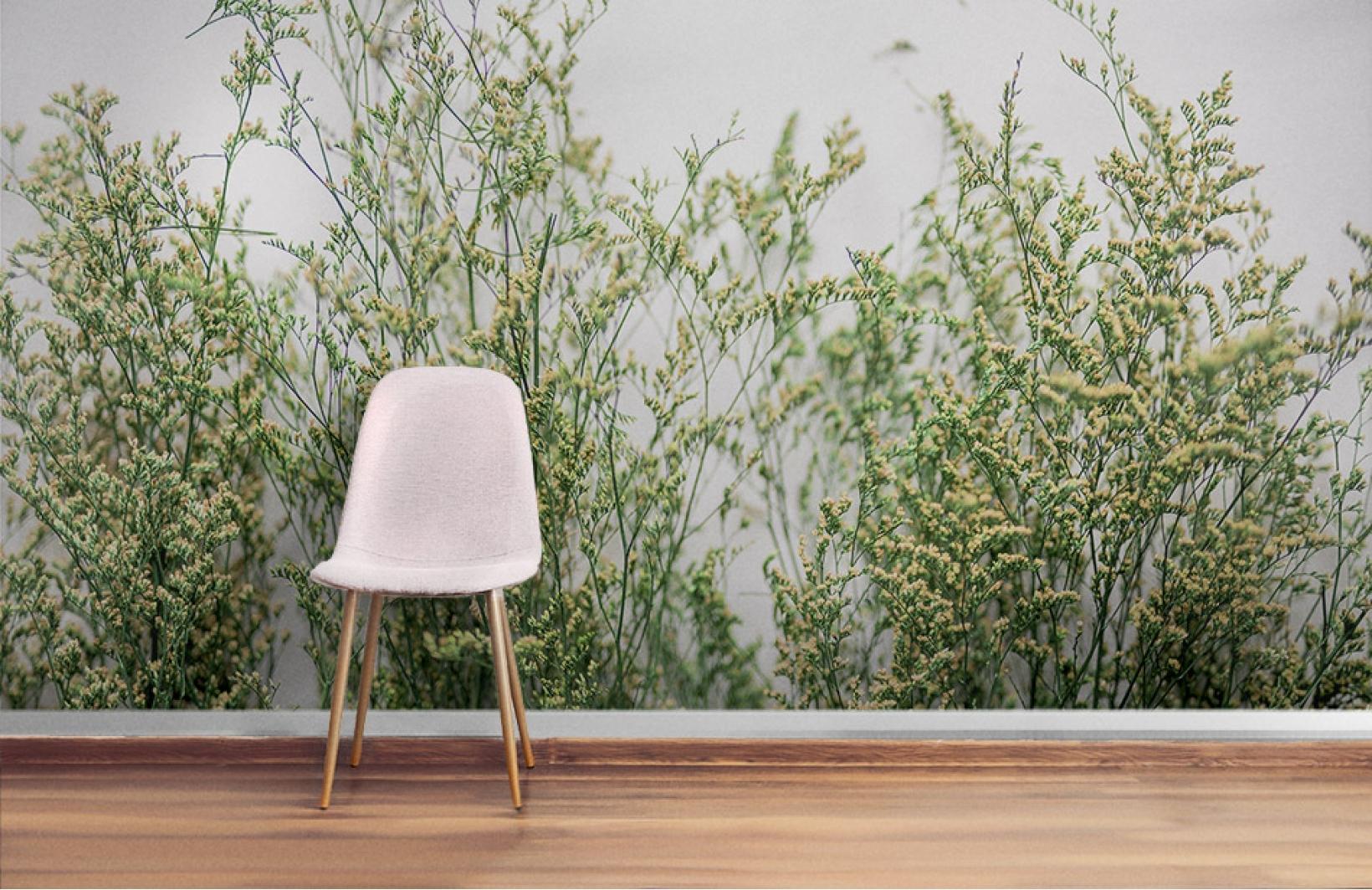 Нежные фотообои с цветами для стены в интерьере гостиной Узоры на Стене