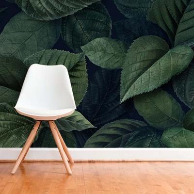 Фотообои в прихожую с насыщенно-зелеными листьями на фото  Узоры на Стене