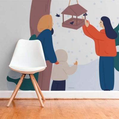 Милые нарисованные фотообои для детской с зимним сюжетом  Узоры на Стене